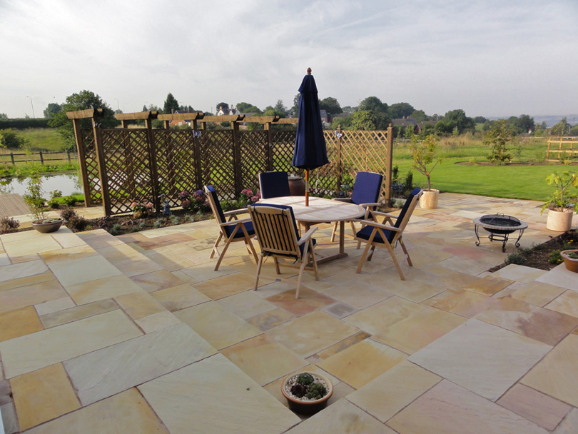 The patio area at the rear of the house.